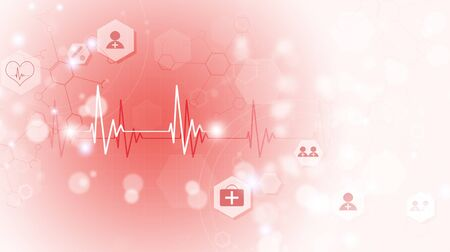 technology and science medical red background with heart ecg