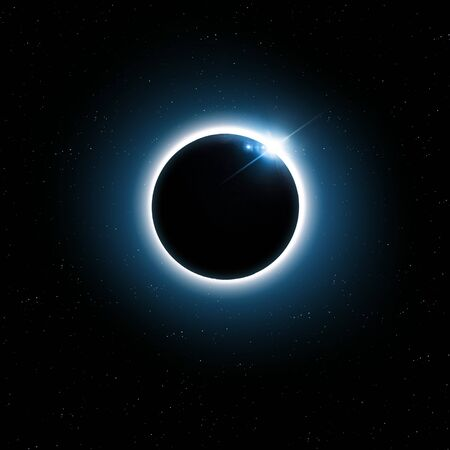 imaginary blue solar eclipse space image with stars and lights