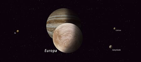 3d illustration. europa one of the four major jupiter satellites