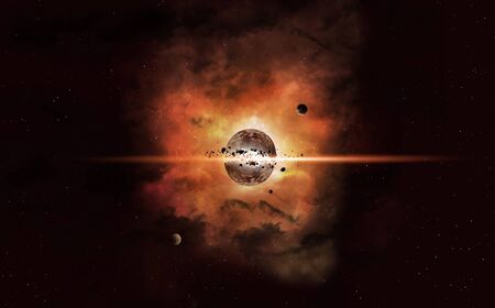 3d illustration. imaginary collapse of a planet. deep space background