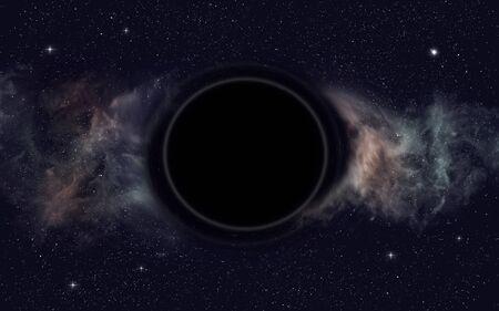 3D-Darstellung. Weltraum außerirdisches Schwarzes Loch Gravitation
