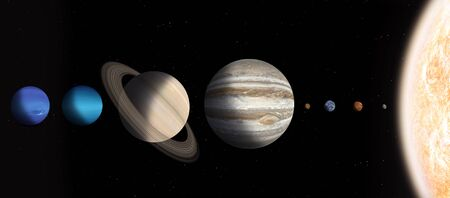 3d illustration. solar system planets in real size
