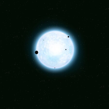 3d illustartion. imaginary deep space giant blue star with planets and star field