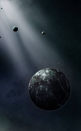 3d illustration. Imaginary planets moons stars nebula in space
