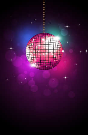 retro music party disco ball neon colors of 80s new wave