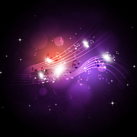 party music notes neon retro background for flyer cards