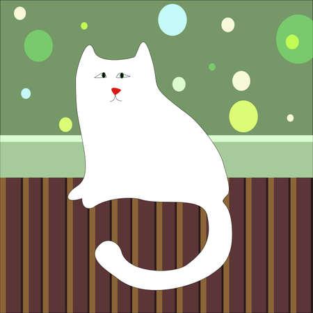 部屋の床の上に座って悲しい白猫  イラスト・ベクター素材