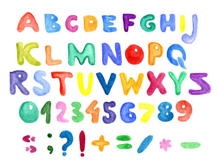 Colorful watercolor aquarelle font type handwritten hand draw abc alphabet letters. numbers and punctuation Stok Fotoğraf