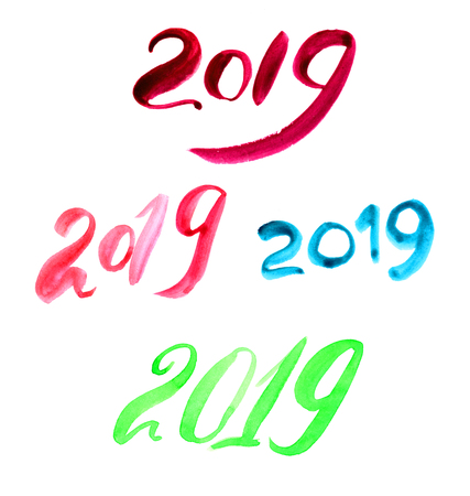 2019 with a brush painted colorful twenty nineteen letter