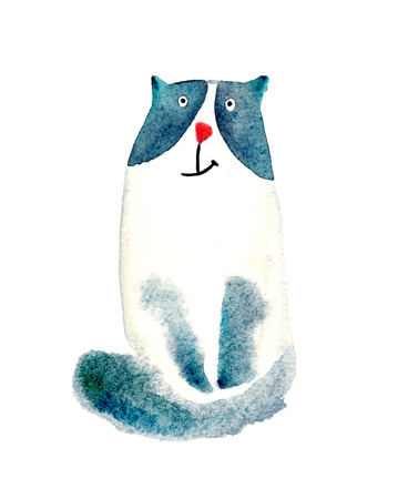 cheerful fluffy cat watercolor. Illustration, isolation objects