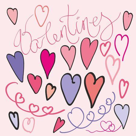 Pattern of hearts vector sketch art for Valentine day design. Marker or felt-tip pen drawing. Romantic symbols set.