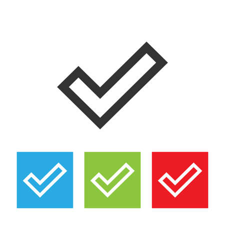 confirmation: Check sign icon. Simple icon of confirmation sign on white background. Illustration