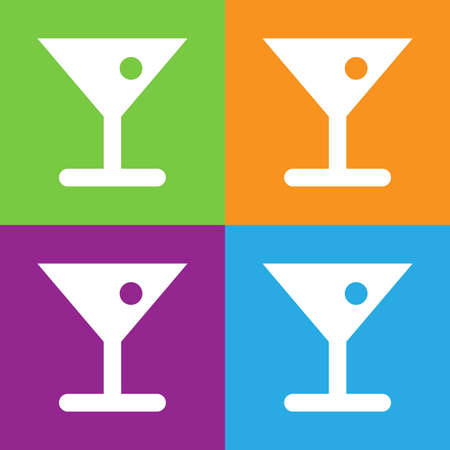 alcoholic beverage: Glass of cocktail icon. Alcoholic beverage in glass with olive. Illustration