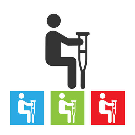 disabled access: Handicap person with crutch. Handicap icon in vector format on white background. Flat illustration. Illustration