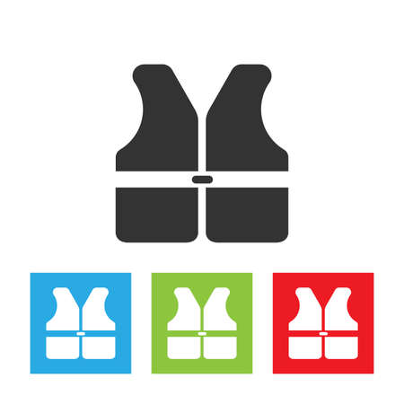 vest in isolated: Life vest icon. Life vest isolated on white background. Simple flat vector illustration.