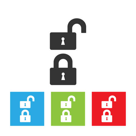 log out: Lock icon. Simple logo of unlocked and locked lock. Flat vector illustration.