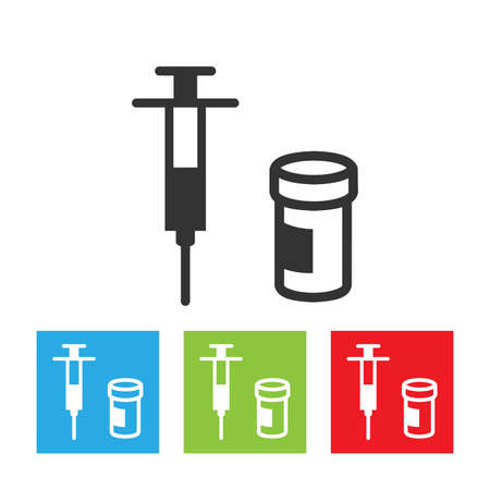an injector: Syringe icon. Simple of syringe and a drug on white background. Flat vector illustration.
