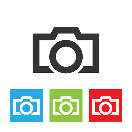 photocamera: Camera icon. Simple picture of camera isolated on white background. Flat vector illustration.