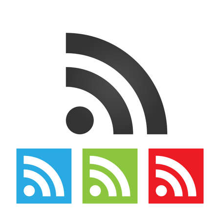 rss icon: RSS icon. Simple of RSS sign on white background. Flat vector illustration.
