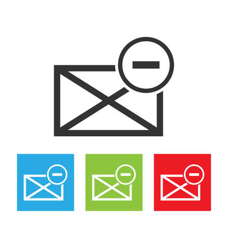 spam mail: Spam mail icon envelope. Picture of envelope with spam symbol isolated on a white background. Flat vector illustration.