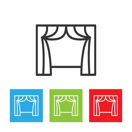 window curtain: Curtain icon. Curtain. Drape icon. Curtain and window vector illustration.