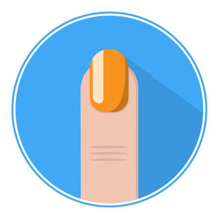 fingernail: Nail icon. Orange fingernail vector. Nail flat.