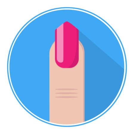pinky: Nail icon. Pink fingernail vector. Nail flat. Illustration