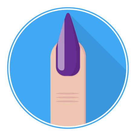 fingernail: Nail icon. Purple fingernail vector. Nail flat. Illustration