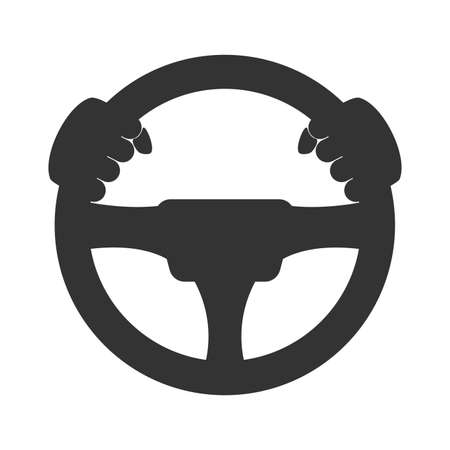 chauffeur: Driver icon. Flat icon of steering wheel on white background