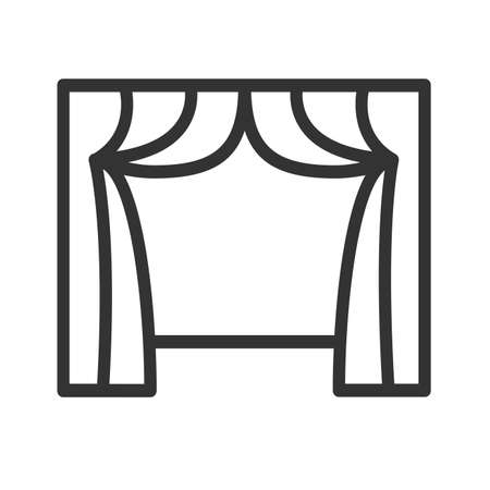 drape: Curtain icon. Curtain isolated on a white background. Drape icon. Curtain and window vector illustration. Illustration