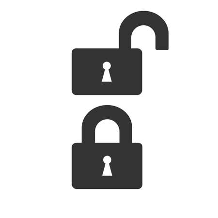log out: Lock icon isolated on a white background. Opened and closed locks. Vector illustration.