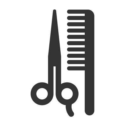 comp: Scissors and comp icon isolated on a white background. Vector illustration.