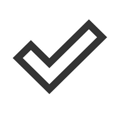 confirmacion: Compruebe icono de la muestra. Confirmar se�al. plano simple de la se�al de confirmaci�n sobre fondo blanco. Ilustraci�n del vector. Vectores