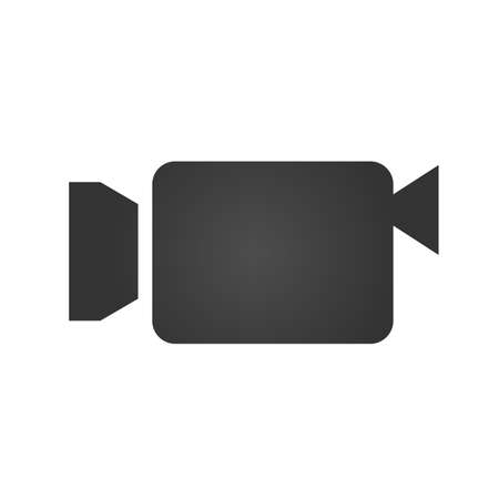 camcorder: Camcorder icon. Simple flat logo of camcorder on white background. Vector illustration.