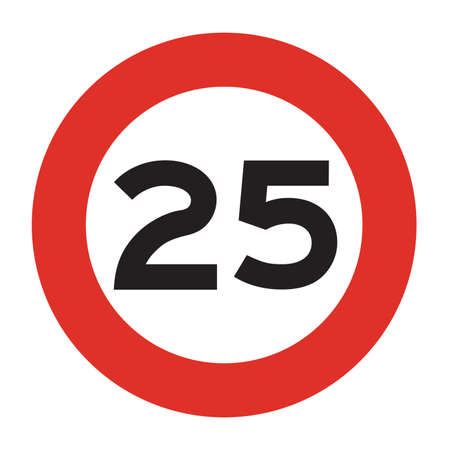 Maximum speed is 25 kmh. Speed limit road sign. Vector illustration.