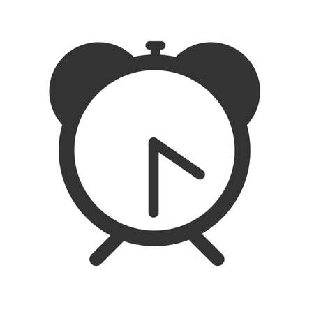 Alarm clock icon. Flat logo of alarm clock on white background. Vector illustration.