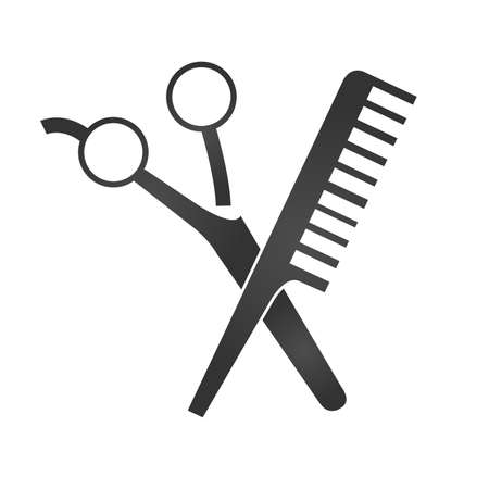 Scissors and comp icons. Barbershop logo. Shapes of scissors and comb isolated on white background. Hair salon vector illustration. Illustration