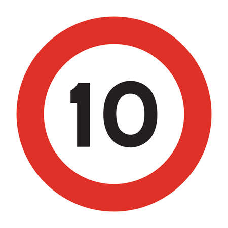 Speed limit road sign. Speed limit is 10 kmh sign. Isolated illustration of circle speed limit traffic sign with red border. Illustration