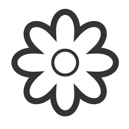 icq: Chamomile blossom icon. Simple flat logo of flower isolated on a white background. Vector illustration. Illustration