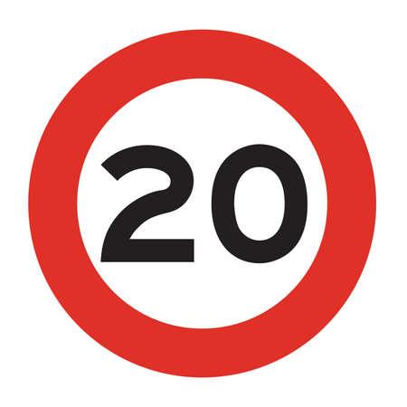 maximum: Maximum speed is 20 kmh. Speed limit road sign. Vector illustration.