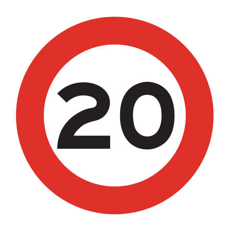 Maximum speed is 20 kmh. Speed limit road sign. Vector illustration.