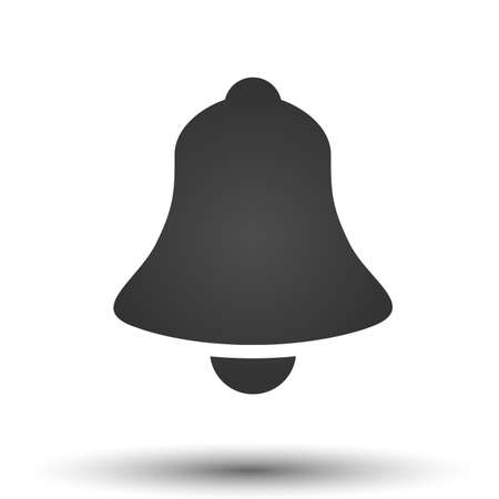 simple logo: Bell icon. Simple flat logo of bell isolated on white background. Vector illustration.