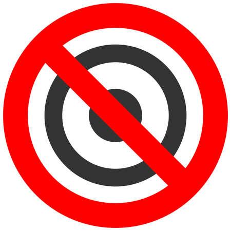 白い背景に分離されたターゲット アイコンと記号を禁止されています。ターゲットは、禁止されているベクター イラストです。ターゲットは、画像