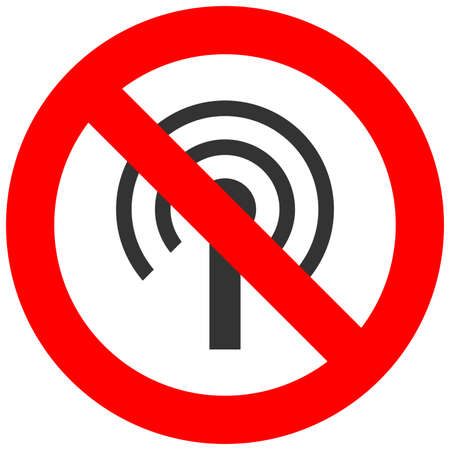 Forbidden sign with wi-fi antenna icon isolated on white background. Using wifi is prohibited vector illustration. WiFi is not allowed image. Wi-fi are banned. Illustration