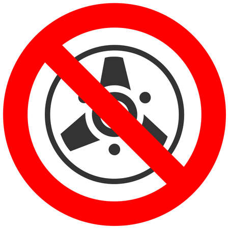 Stop or ban sign with bobbin icon isolated on white background. Listening to music is prohibited vector illustration. Music is not allowed image. Bobbins are banned. Illustration