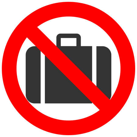 baggage: Stop or ban sign with baggage icon isolated on white background. Hand baggage is prohibited vector illustration. Luggage is not allowed image. Carryon is banned. Illustration