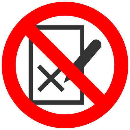 Forbidden sign with blacklist icon isolated on white background. Blacklist is prohibited vector illustration. Blacklist is not allowed image. Blackists are banned. Illustration