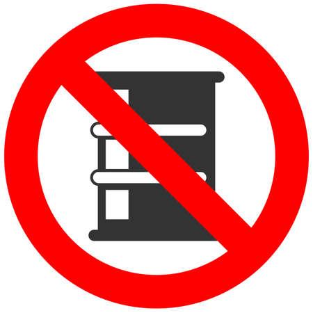 toxic waste: Stop oil barrel. Fuel is forbidden. Frozen barrel. Red forbidden sign. Ban toxic waste