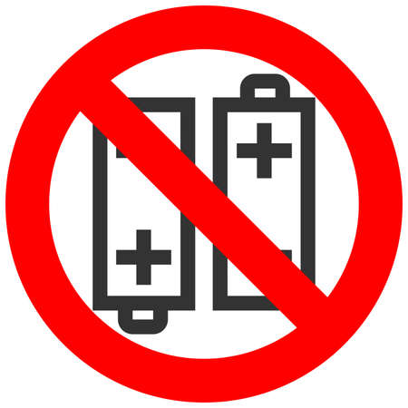 electrochemical: Forbidden sign with battery icon isolated on white background. Battery is prohibited vector illustration. Using battery is not allowed image. Batteries are banned.