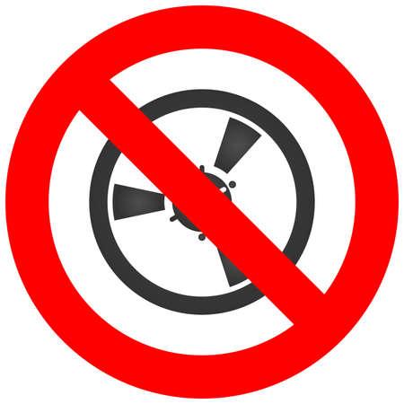 Detener o prohibir la muestra con el icono de la bobina aislado sobre fondo blanco. Escuchar música está prohibido ilustración vectorial. La música no está permitida. Las bobinas están prohibidas.